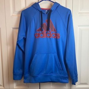 Adidas Blue Orange Hoodie Pull Over Sweatshirt S